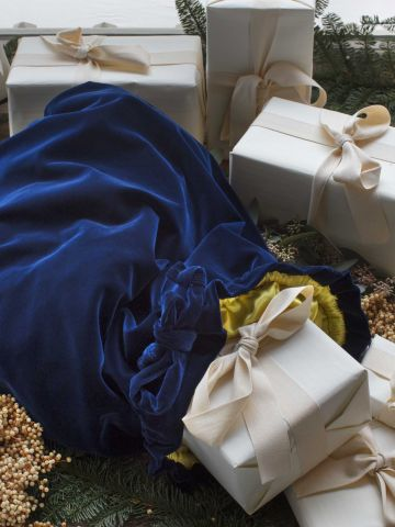 Christmas Sack Blue Velvet