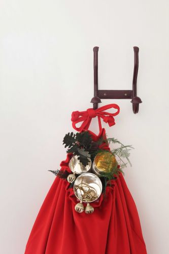 Stitched Red Leather Double Coat Hook by Rose Uniacke