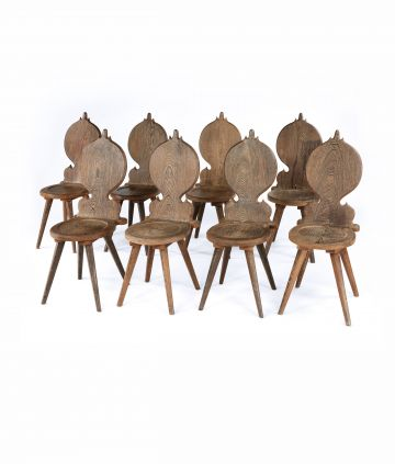 Set of Eight French 1950's Wenge Chairs
