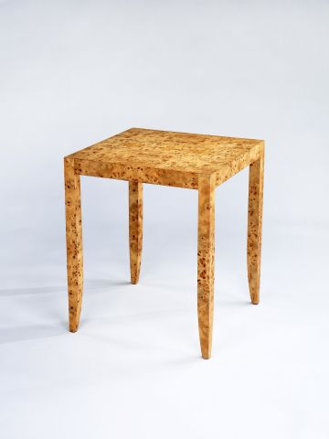 Veneered Side Table - Natural Poplar Burl veneer