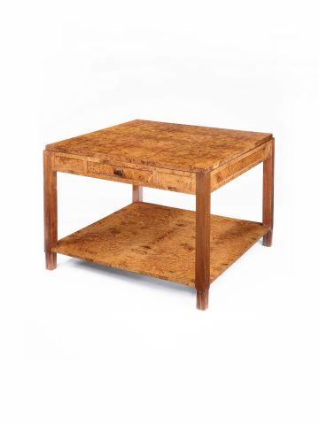 Amboyna Veneered Two-Tier Side Table