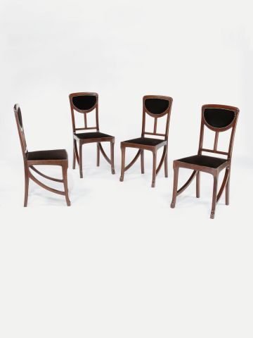 Set of Four Art Nouveau Side Chairs