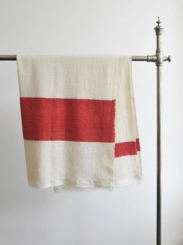 Orange Stripe Cashmere Blanket