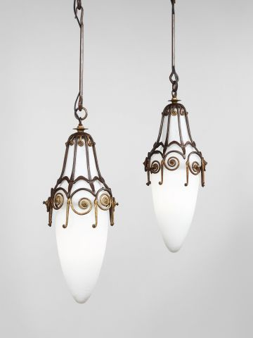 Pair of Hanging Pendant Lights by Edgar Brandt