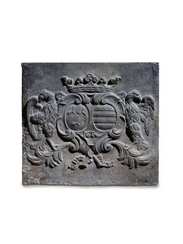17th Century Cast Iron Armorial Fire Back