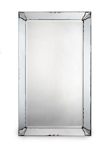Large 1930's Glass Border Frame Mirror