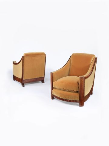 Pair of Upholstered Armchairs attributed to Francisque Chaleyssin
