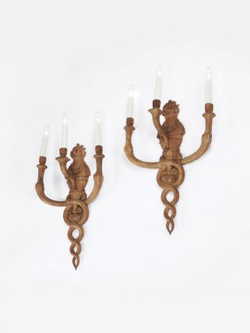 19th Century French Carved Wall Sconces