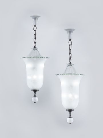 Pair of Large Glass Lanterns by Gino Cenedese