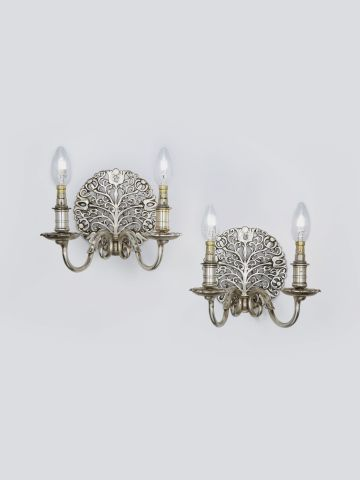 Pair of Arts & Crafts Silvered Wall Lights