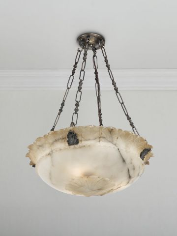 Early 20th Century Alabaster Dish Light