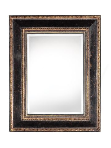 Large Italian Black Lacquered Mirror