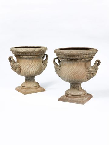 Pair of mid 19th Century Italian cast iron Urns