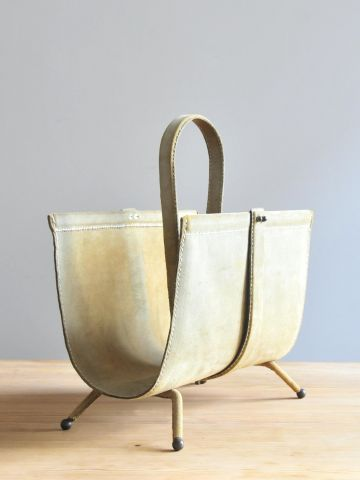 Suede Magazine Rack by Jacques Adnet