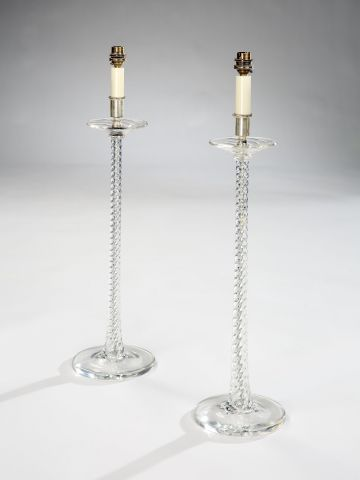 Pair of late 19th Century Spiral Twist Glass Lamps