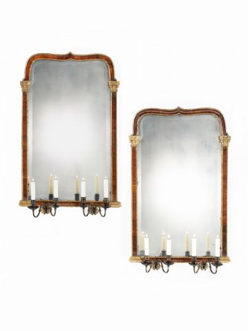 Pair of mid 19th Century Walnut Framed Mirrors