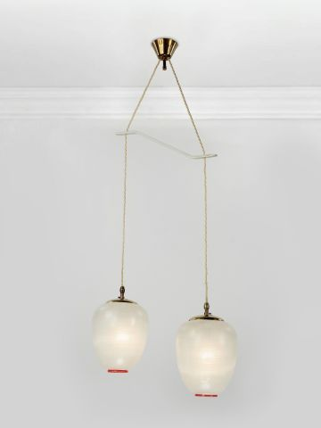 Pair of Small 1950's Globe Pendant Lights