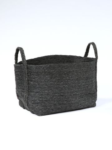 Large Square Basket in Black Jute
