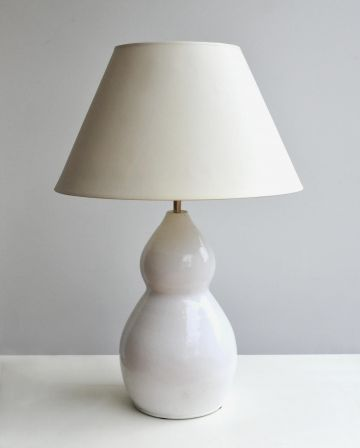 1950's 'Double-Gourd' White Stoneware Table Lamp