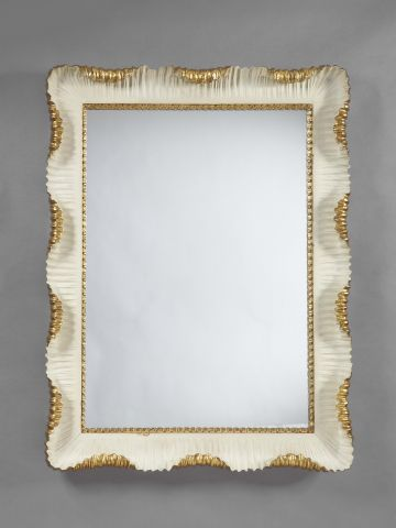 Carved Stone-White Painted & Gilded Mirror