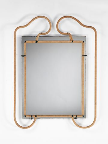 Metal and Rattan Mirror