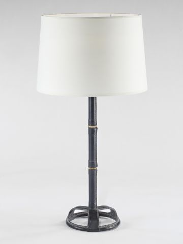 Black Leather Table Lamp by Adnet