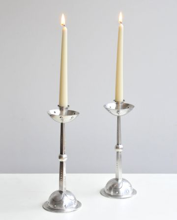 Pair of Silver Plate Secessionist Candlesticks