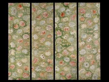 Set of Four Arts and Crafts Embroidered Panels