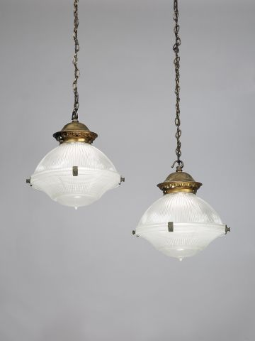 Set of Eight Holophane Hanging Lanterns