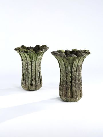 Pair of Regency Carved Limestone Vases