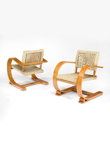Pair of Beech and Woven Abaca Cantilever Chairs