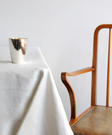 Square Tablecloth in 'Ivory' Double Damask Linen_1
