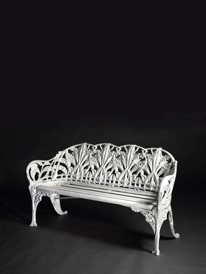 "Cast Iron ""Lily of the Valley"" Garden Bench"