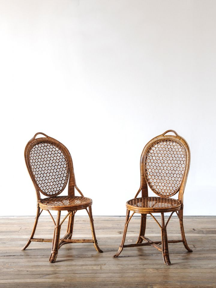 Pair of Cane & Bamboo Side Chairs_0
