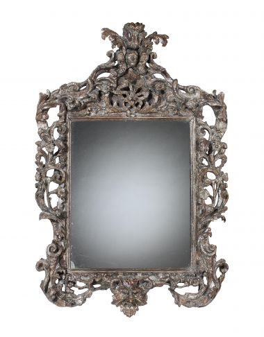 17th Century Italian Carved & Silvered Mirror_0