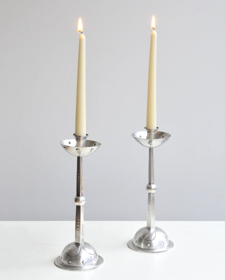 Pair of Silver Plate Secessionist Candlesticks_0