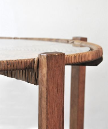 1950's Wicker & Oak Occasional Table_1