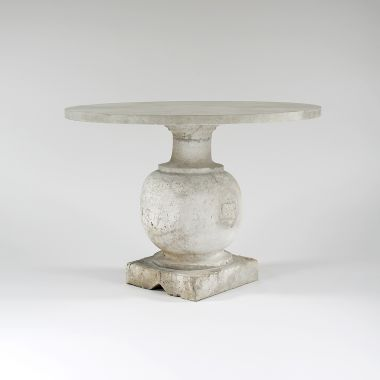 Pair of Bulbously Carved Limestone Baluster Tables_1