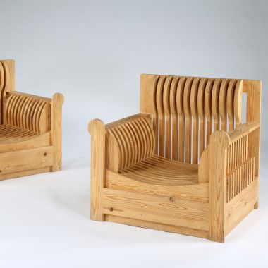 Pair of Slatted Pine Armchairs by Mario Ceroli_1