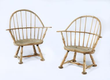 Pair of Beech and Elm Windsor Elbow Chairs_0