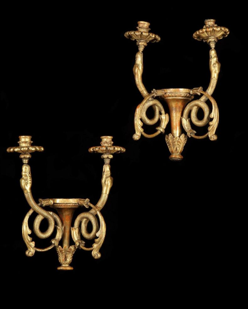 Pair of Neoclassical Gilded Wall Sconces_0