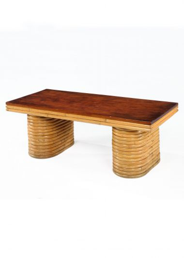 Bamboo & Mahogany Coffee Table by Paul Frankl_0