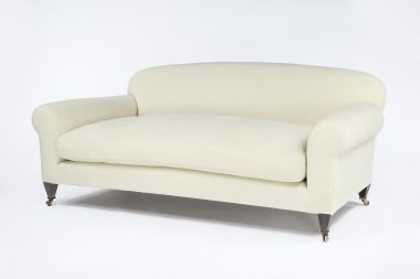 Heavy Weight Linen in Teacake by Rose Uniacke on upholstered sofa