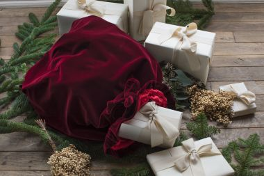 Luxury Christmas Sack Burgundy Velvet by Rose Uniacke
