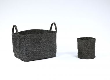Large Square Basket in Black Jute_1