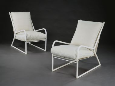Pair of 1950's White Painted Tubular Armchairs_2