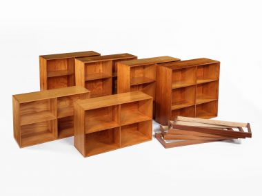 Set of 3 Pine Bookcases by Mogens Koch_1