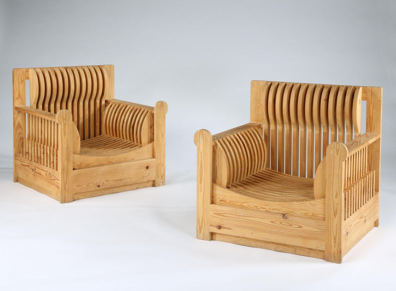 Pair of Slatted Pine Armchairs by Mario Ceroli_0