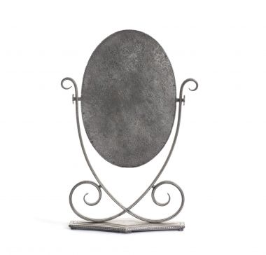 Silvered Wrought Iron Table Mirror by Edgar Brandt_1