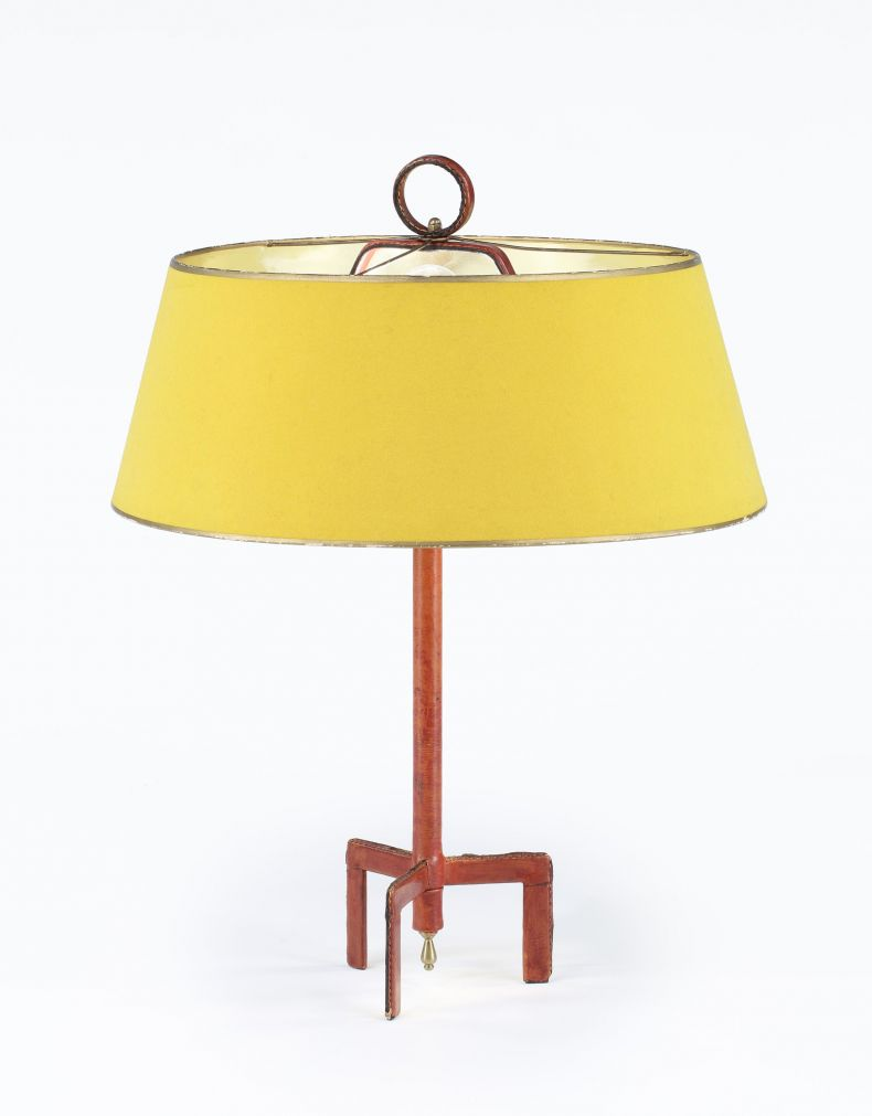 Original Red leather adnet table lamp attributed to Jacques Adnet